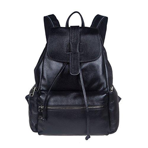 S-ZONE Damen Weinlese Echt Leder Rucksack Tragetasche Reise Shopper Schulter Tasche (Leder Ein-schulter-rucksack)
