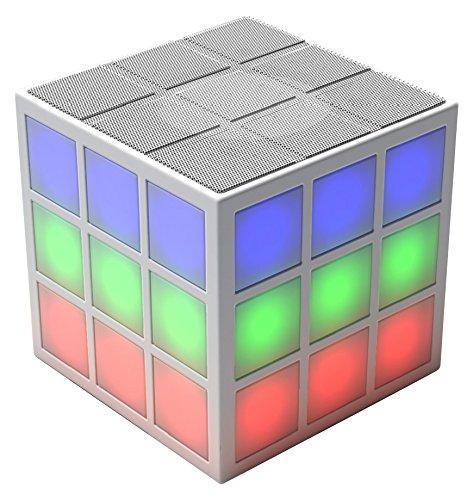 Der Rubik's Bluetooth LED Lautsprecher mit integriertem 360 Grad Licht-Effekt - die perfekte Musikanlage für unterwegs oder auf Parties - weiß (Bluetooth-lautsprecher Licht)