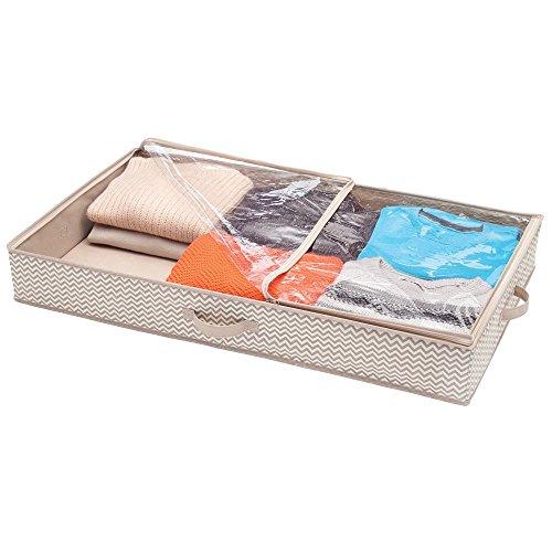 Mdesign contenitore sottoletto con coperchio trasparente – contenitori sottoletto con cerniera ideale per scarpe e vestiti – cassettone sottoletto – grigio talpa