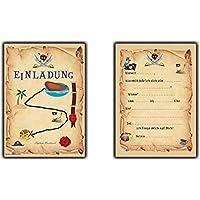 Einladungskarten Pirat Schatzkarte Piratenparty Kindergeburtstag Einladung  Piratenkarte   12 Stück