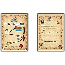 Einladungskarten Pirat Schatzkarte Piratenparty Kindergeburtstag Einladung Piratenkarte - 12 Stück