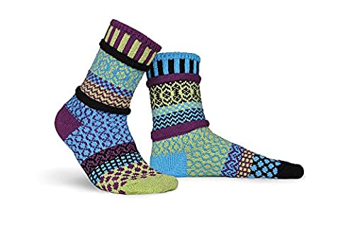 Solmate Socks - Odd or Mismatched Crew Socks for Women or for Men, Made with Recycled Cotton Yarns in USA, Equinox Large
