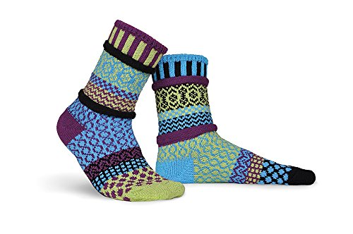 Solmate Socks - Odd or Mismatched Crew Socks for Women or for Men, Made with Recycled Cotton Yarns in USA, Equinox Medium
