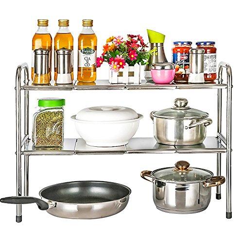 Rack Platte Unter Regal (Küche Lagerregal / Edelstahl / Küche Waschbecken unter Regalen / einziehbar / Gewürz Lagerung / 2 Schichten)