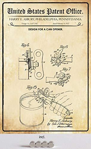 Blechschild 20x30cm gewölbt incl. 4 Magneten Patent Entwurf für einen Dosenöffner 1927 Deko Geschenk Schild