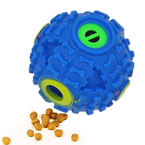 FineInno Quietschen Futterball Blau Hundespielball Hundespielzeug Kauspielzeug Intelligenz Spielzeug für klein Hund Hunde (1 ball)