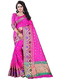 Vatsla Enterprise Women's Banarasi Cotton Silk Saree With Blouse Piece(VSWNRNPINK007)
