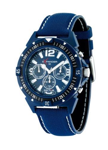 Sector R3251197006 No Limits, Orologio da Uomo Cronografo al Quarzo con Cinturino in Pelle, Blu