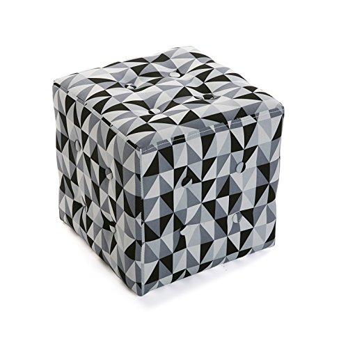 Versa 19501326 Taburete cubo puff asiento Rhune,35x35x35, Blanco Negro