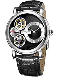 SKONE Fashion Quartz Mechanical Double Movement Mens Watch with Digital Nailed Scale and Real Small Seconds Dial (Black Black)