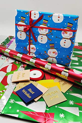 Satyam kraft (Pack of 10) Christmas Theme Gift Wrapping Paper with Free 10 Best Wishes Tags and 1 Satin Ribbon, Envelope Making,Card Making, Christmas, Family and Your Loved Ones Chrismas