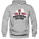 Shirt Happenz Nordirland WM 2018#1 Hoodie | Fußball | Herren | Green & White Army | Trikot | Nationalmannschaft, Farbe:Graumeliert (Greymelange F421);Größe:L