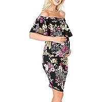 ALIKEEY Womens Embarazada Sin Mangas Volantes Vestido Floral Hombro Ropa De Maternidad Coche Faja Cojin Almohada