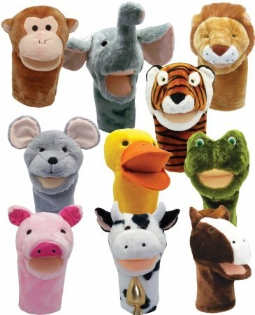 Get Ready Kids Big Mouth Animal Puppet Set of 10: Cow, Horse, Pig, Duck, Mouse, Frog, Tiger, Lion, Elephant and Monkey by GET READY KIDS FORMERLY