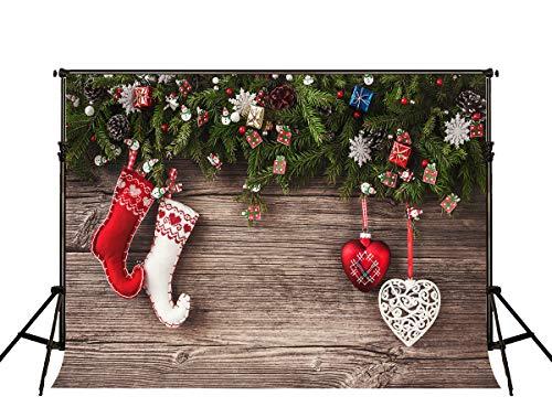 KateHome PHOTOSTUDIOS 2,2x1,5m Weihnachten Hintergrund Weihnachten Holz Hintergrund Socken Hintergründe Weihnachtsschmuck oder Baby Fotografie Mikrofaser Kulissen Requisiten