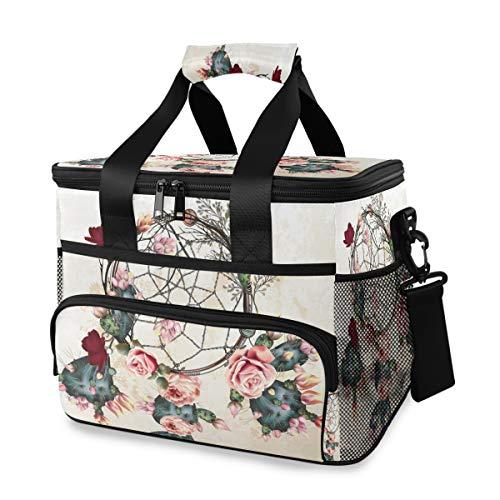 Vinlin - Bolsa isotérmica para Picnic, diseño de Flores, atrapasueños, Grande, para Picnic, para el Almuerzo, para Viajes, Oficina, Escuela