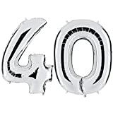 PartyMarty Ballon Zahl 40 in Silber - XXL Riesenzahl 100cm - zum 40. Geburtstag - Party Geschenk Dekoration Folienballon Luftballon Happy Birthday