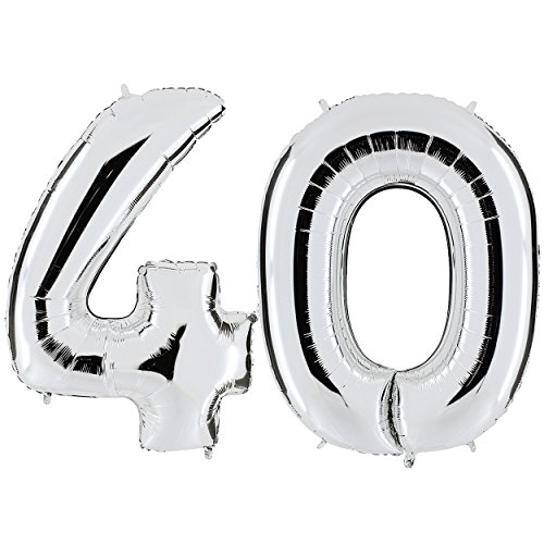 PartyMarty Ballon Zahl 40 in Silber - XXL Riesenzahl 100cm - zum 40. Geburtstag - Party Geschenk Dekoration Folienballon Luftballon Happy Birthday (Geburtstag Ballons Zum)