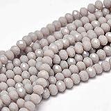 20stk Jade Perlen 6 x 4 mm Frosted Grau Rondelle Facettiert Halbedelstein Schmuckperlen für Kette Armband Ring Opak Farbe G982