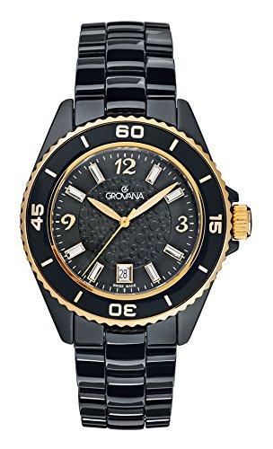 GROVANA 4001,1157 De cuarzo Swiss Unisex reloj infantil con mecanismo de esfera analógica y de cerámica de color negro pulsera