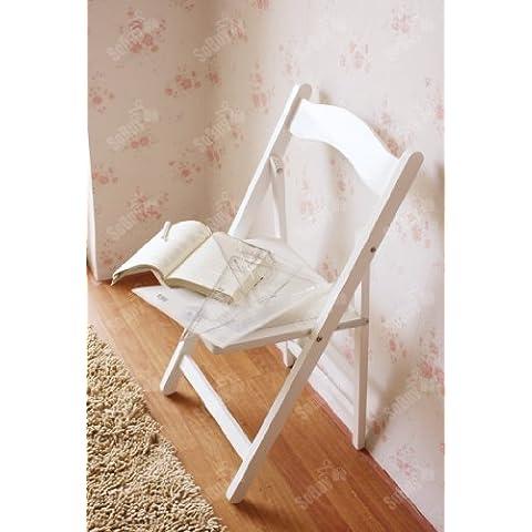 SoBuy® Sillla plegable, silla, sillla de madera, silla de cocina, silla de comedor, color:blanco, FST06-W