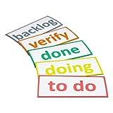 5 magnetische Scrum Karten / 13,5cm breit und 6cm hoch/backlog, to do, doing, verify, done/z.B. fuer agiles Projektmanagement (Scrum Board, Kanban Tafel, Agiles Board, Lean Board, Task Board)