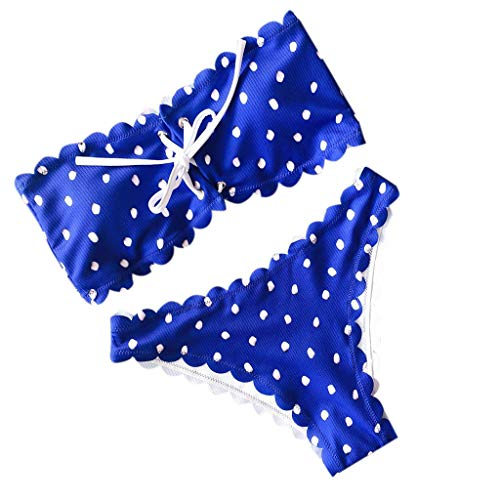 (RISTHY Brazilian Bikini Damen 2019 Polka Dot-Badebekleidungs-Sets drücken Sie Zweiteilige Badebekleidung mit Bandeau-Badebekleidung und gepolstertem BH mit gepolsterten Bandagen aus)