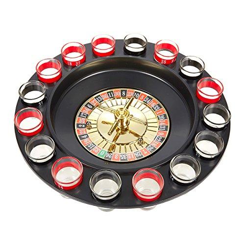 Juvale Roulette - Juego de Beber – Juego de ruleta de chupitos de cristal, 16 vasos, 2 bolas de ruleta, guía de inicio, ideal para Navidad