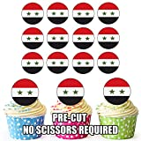 Syrie Drapeau–24comestibles pour cupcakes/gâteau d'anniversaire décorations–Facile prédécoupée + Cercles