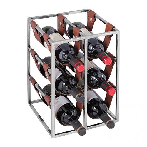 FineBuy Design Weinregal 6 Flaschen mit Lederschlaufen Alu Silber Flaschenregal | Weinflaschenhalter...