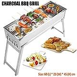 CERCHIO Barbecue à Charbon de Bois Portbale - Barbecue Pliable en Acier Inoxydable - Kit d'outils pour Barbecue d'extérieur - Pique-Nique - Patio - Jardin - Camping - Cuisson (60 x 24 x 45cm)