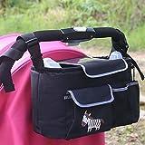 Haosen Universal Organizador Cochecito Con correa de hombro - Impermeable Bolso para Cochecito de Bebe Para Pañales, Toallitas, Biberón y Movil (Cebra Negro)