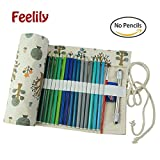 Feelily the Most Stylish Canvas Pencil Wrap, 36 Coloured Pencil Holder Multi-purpose Pouch for Artist (Pencil Not Included) (Albero verde)