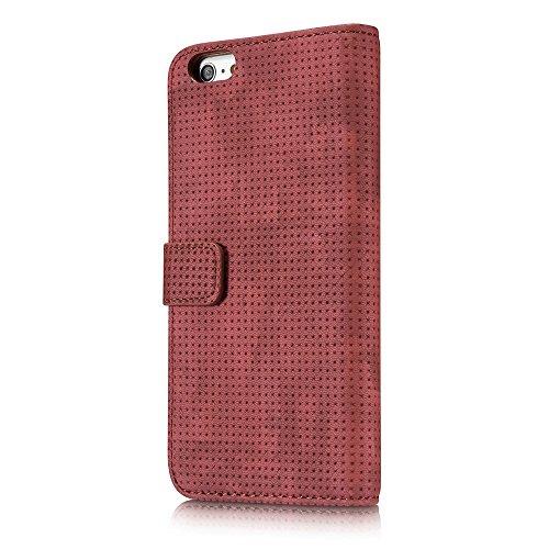 GR PU Leder Folio Stand Brieftasche Pouch Case Cover mit Ständer Kartensteckplätze für iPhone 6 Plus und 6s Plus ( Color : Darkgray ) Red