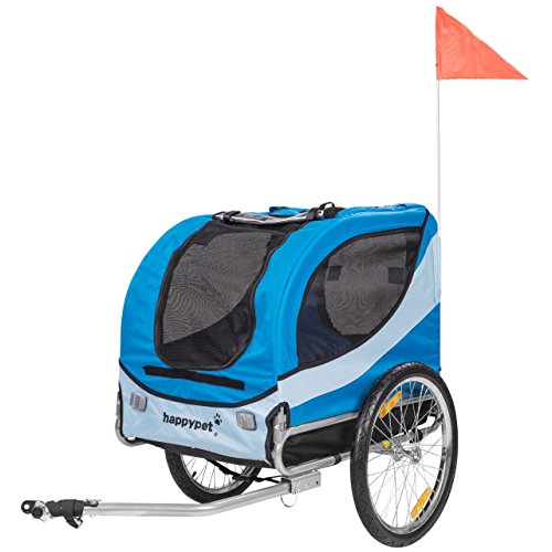 HAPPYPET Fahrrad-Anhänger für Hunde M Hundeanhänger Hundefahrradanhänger Hundetransporter Regenschutz inkl. Anhängerkupplung Regenschutz NAVY BLAU (Hund Fahrrad Anhänger)