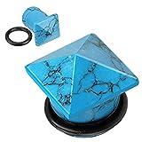 Paula & Fritz, plug svasato con bordo singolo, in pietra turchese semi preziosa, con finale a forma di piramide e anello in gomma; codice: PST3, colore: blue, cod. PST3-04_06