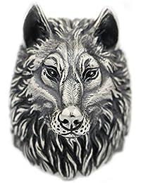 LISNION 925 Sterling Silver Wolf Ring Huge Heavy Mens Biker Ring TA90