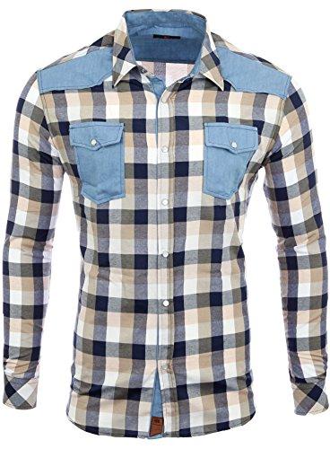 Reslad Herren Hemd Karo Material-Mix Langarm Jeans RS-7202 Braun