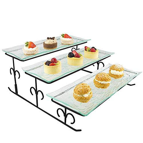 Ilyapa 3Etagen Server-Schwarz abgestuftes Servierplatte Ständer & Tabletts-Ideal für Kuchen, Dessert, Garnelen, Vorspeisen & mehr (Tier-servierplatte)