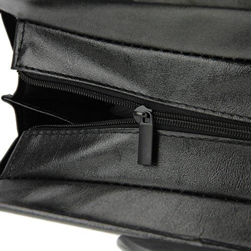 Fächertasche Office A4 Aktentasche Konferenzmappe Business Dokumentenmappe mit Tragegriff Handtasche mit Reißverschluss Aktenordner für Büro Schwarz Schwarz 3