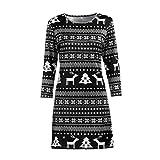 Weihnachten Damen Kleid Lonshell Übergroß Herbst Xmas Mädchen Midikleid Weihnachtsgeschenk