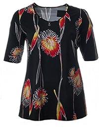 36c1d5b8243251 Sempre piu Damen Kurzarm-Shirt Schwarz V-Ausschnitt mit Medaillon Blumen  Sommer-Mode
