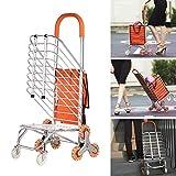 MEYLEE Leichtes tragbares faltbares Aluminiumlegierung 8 Rad Doppelfeld Einkaufstrolley - Silent Orange Crystal Wheel