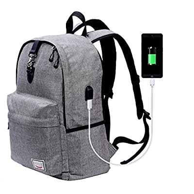 Laptop Backpack,Beyle Slim Anti-theft Water Resistant Travel Laptop Backpacks For Men Women With USB Charging Port School Computer Book bag for College Travel Backpack Fits 17 Inch and Notebook,Grey