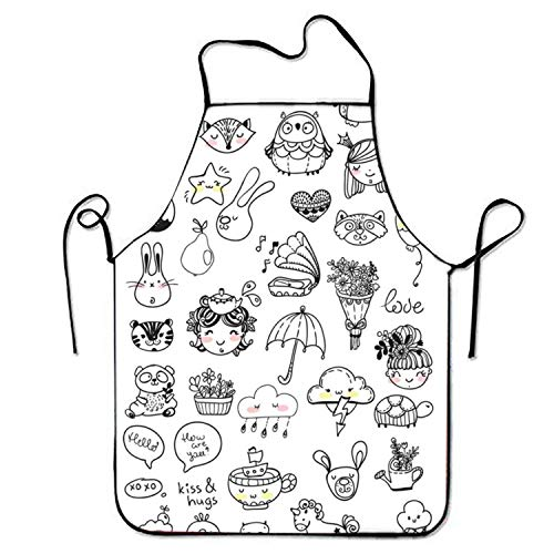 2019 Apron Digital Printing Aprons Collection of Children Doodles for Baking Stitched Edges (Doodles 2019 Halloween)