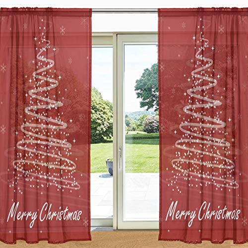 MyDaily Vorhang mit Weihnachtsbaum und Sternen Bedruckt, durchsichtig, 2 Paneele, 139,7 x 19,8 cm, Gardinenstange für Wohnzimmer, Schlafzimmer, Dekoration, Polyester, Multi, 55