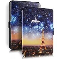 Cubierta protectora de cuero de la PU con Auto despertar o dormir para Amazon Kindle Paperwhite(Eiffel Tower)