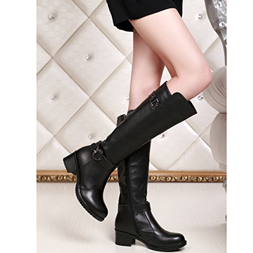 1bb3a6005e HUSK SWARE Negro Botas de Cuero de Moda Para Mujeres Botas de Invierno  botas altas mujer