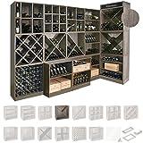 Weinregal / Flaschenregal System CAVEPRO, Regalmodul mit T-Einsatz, Holz Melamin beschichtet, Wenge