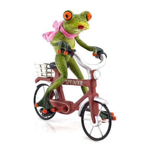 Deko Frosch auf Fahrrad, Dekofigur Frosch, hellgrün, Höhe ca. 16,5cm